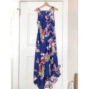 Xhilaration Long High Low Blue Floral Dress
